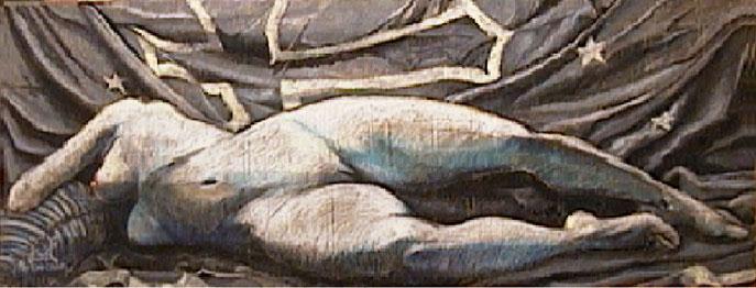 Nu à la croix - pastel et acrylique sur journal marouflé sur bois - 150cm/58cm