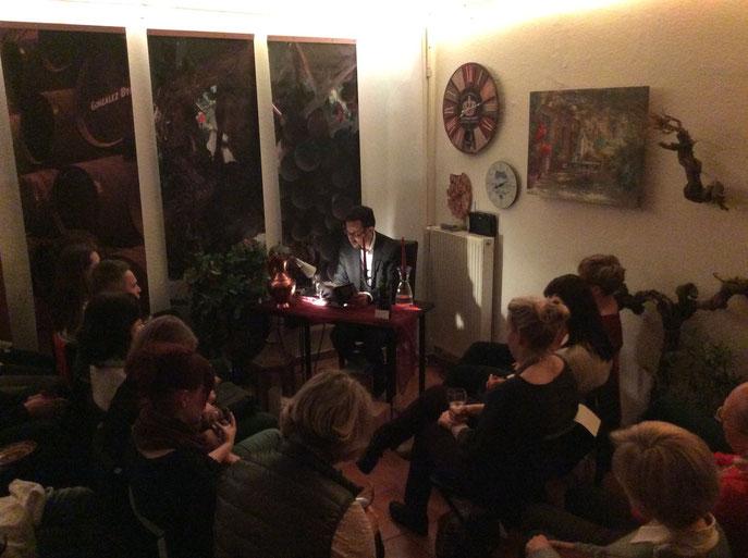 """Lesung im """"Weinstein13"""", Leipzig, zur Leipziger Buchmesse 2015."""