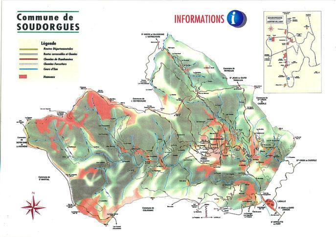 Mas et hameaux de Soudorgues. Cliquez pour agrandir l'image.