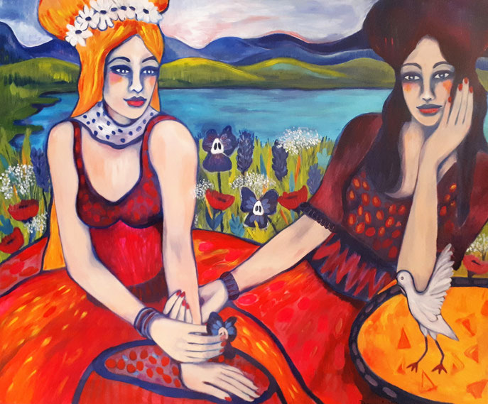 SISTER`S DAY AT THE LAKE. 100x120x2cm. Acryl auf Leinwand.