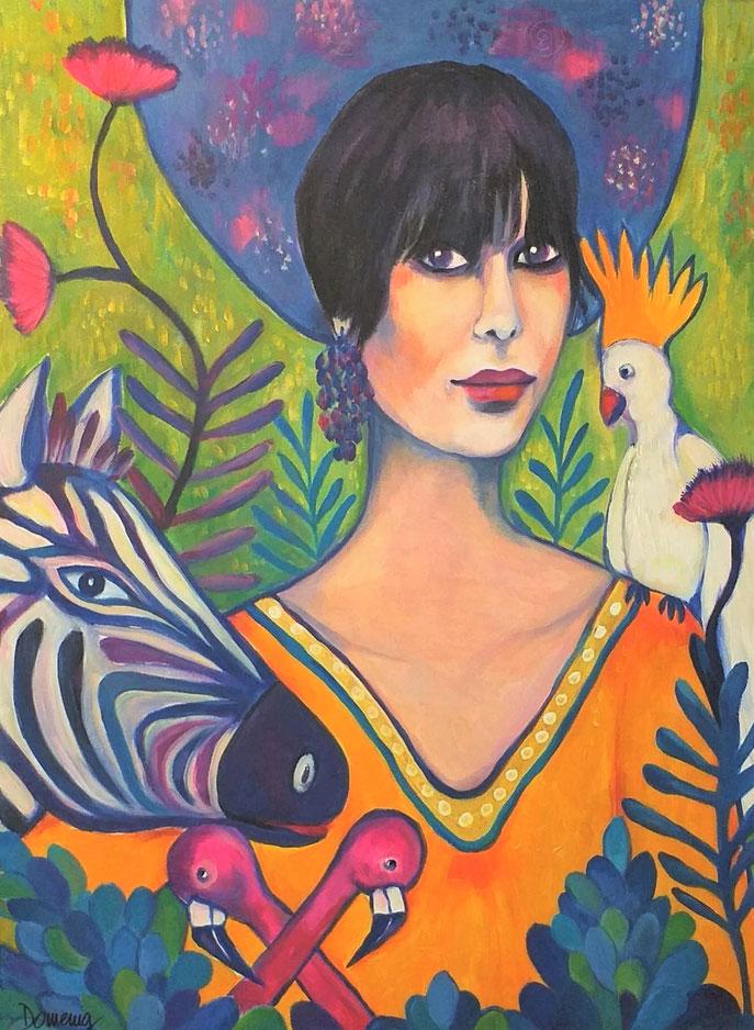 PARADISE MADONNA WITH PINK FLAMINGOS. Acryl auf Leinwand. 80x60x2cm.