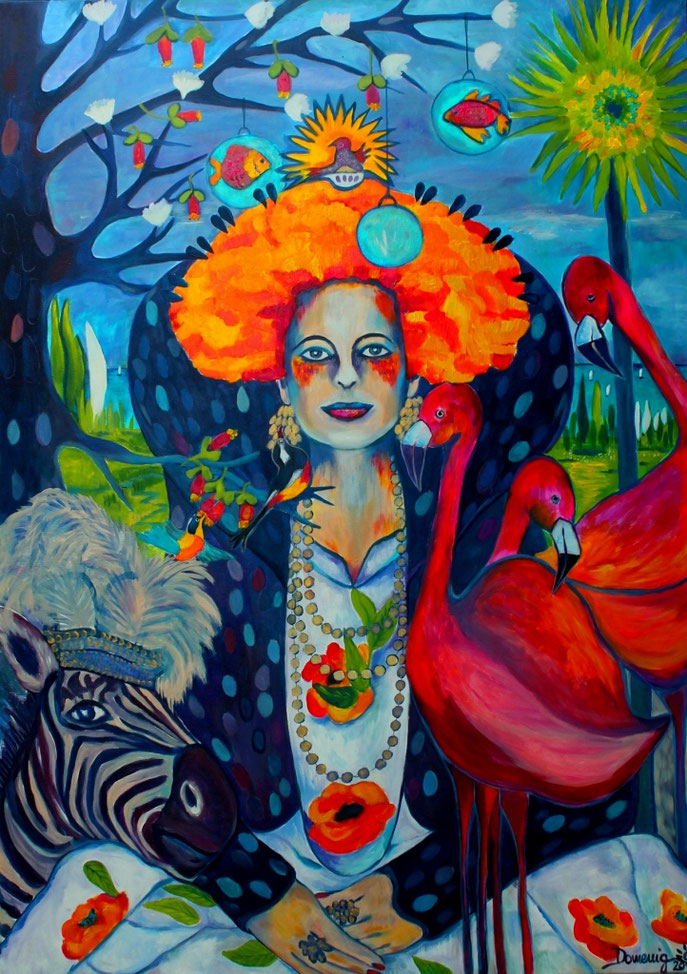 QUEEN OF FASHION. TIME OUT IN THE FLAMINGO PARK. 140x100x2cm. Druck 120x80x2cm. Euro 400. Lieferzeit ca. 10 Tage.