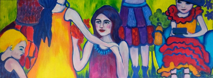 SANTA BARBARA FLAMENCO GIRLS. Acryl auf Leinwand.