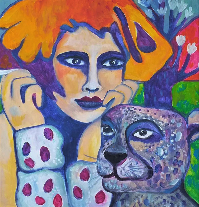 Savannah & her Cheetah. Acryl auf Malplatte. 40x40xcm, gerahmt.