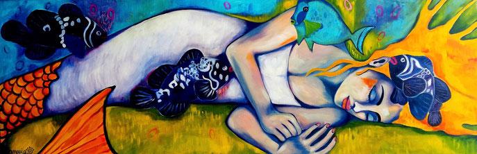 MERMAID SLEEPING. Acryl auf Leinwand. 50x150x2cm.