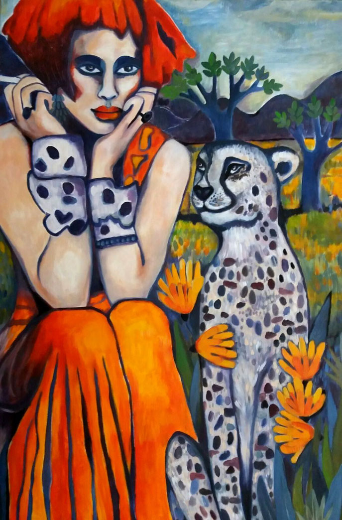 SAVANNAH & HER CHEETAH IN FRONT OF THE PURPLE HILLS. 120x80x2cm. Acryl auf Leinwand.