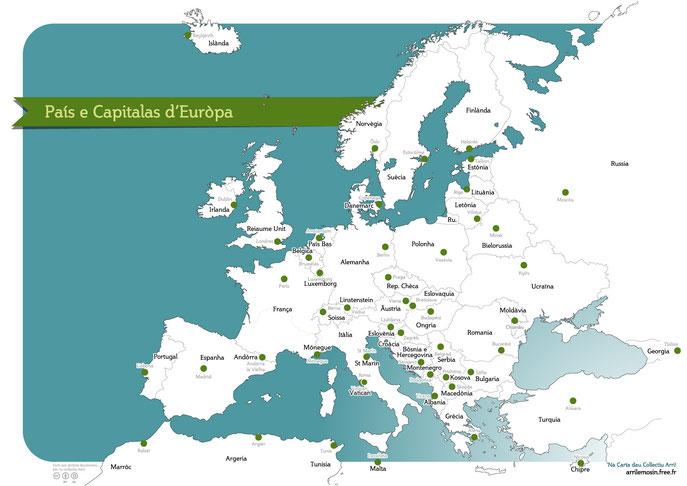 Pais e capitalas d'Euròpa