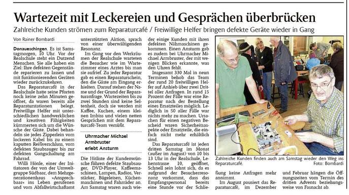 Schwarzwälder Bote 23-2-2015       Hinweis: Uhrenmacher ist Michael Allgaier (nicht Armbruster).