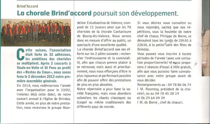 ARTICLE DE PRESSE SAISON 2013/2014