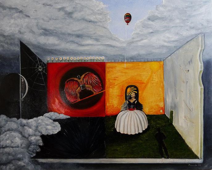 """Brennike Malerei 2019 """"Die Zelle"""", Ölgemälde auf Leinwand 100x80x2 cm"""
