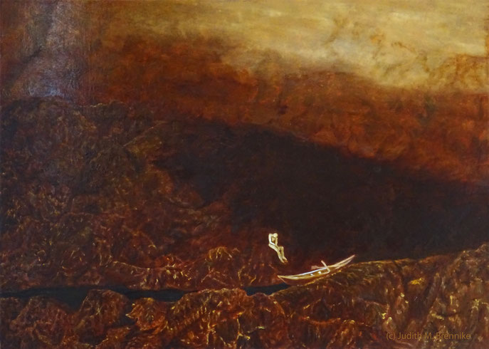 """Too small, too tall"", Ölgemälde 70x50x2 cm, Judith Maria Brennike Malerei 2019"