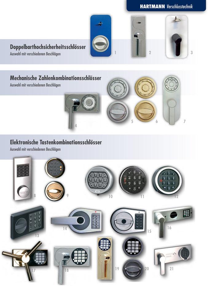 Mechanische Zahlenkombinationsschlösser, elektronische Tastenkombinations Schlösser, Doppelbartschlösser