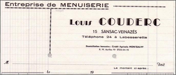 Papier à en-tête de l'entreprise de Louitou Couderc.
