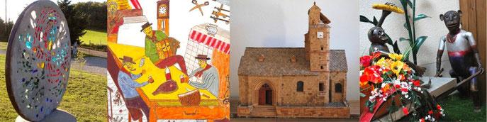 Vitrail (G. Villeret) / Casse-croûte (R. Delrieu) / Eglise Chalinargues (R. Goudergues) / Les singes (R. Delrieu) Clichés J.P. Bonhuil