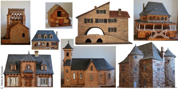 8 maquettes parmi la cinquantaine de monuments réalisés par Robert Goudergues. Clichés J.P. Bonhuil