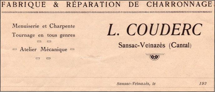 Papier à en-tête de l'entreprise du grand-père de Louitou Couderc - après 1922.