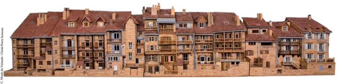 Les maisons sur les berges de la Jordanne (Aurillac) / Longueur de la maquette : 4 mètres / Cliché P. Soissons. CLIQUER sur la photo pour l'agrandir