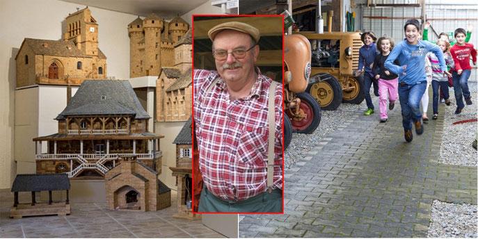 Art populaire, maquettes en bois, raymond coste, enfants, cantal