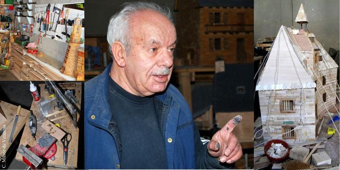 Dans l'atelier de Robert, le grenier à blé de Lamothe (Calvinet) en cours de fabrication. Clichés : J.P. Bonhuil