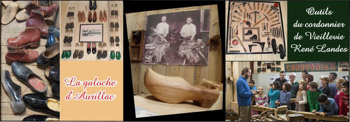 Galoches, sabots et chaussures présentés au musée du Veinazès.