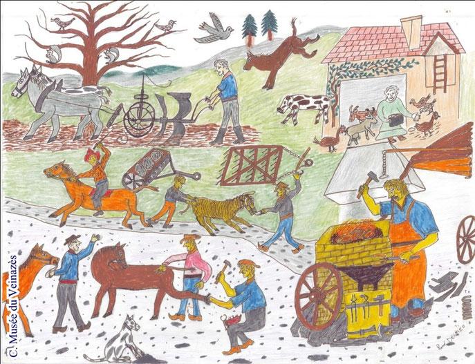 Labour et maréchalerie - dessin de René Delrieu