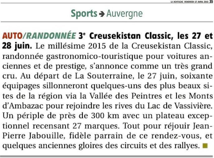 """Lu dans la rubrique """"télégrammes"""" de la page Sport Auvergne du quotidien La Montagne daté du 17 avril 2015..."""