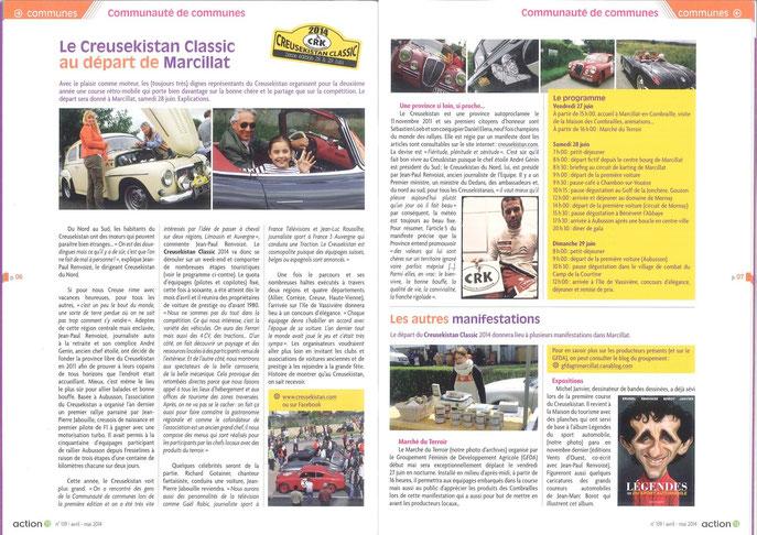 Le rallye a eu l'honneur d'une double page dans le daté avril-mai d'Action 13, le magazine de Marcillat en Combraille.