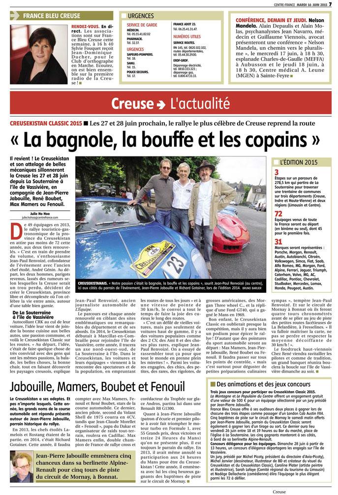 Une page complète tout en couleur dans le quotidien La Montagne du 16 juin 2015 ! Forza !