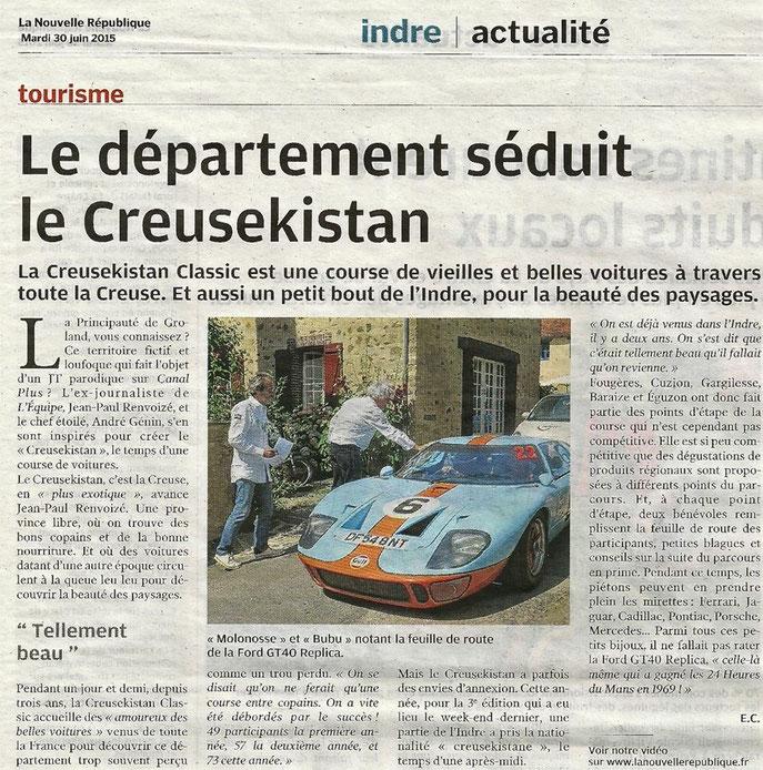 En vedette dans l'édition de l'Indre du 30 juin : le contrôle de passage de Gargilesse (Indre) au cours de la deuxième étape de samedi.