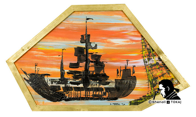 Malerei  von Shenoll Tokaj, Bild, Unikat Piratenschiffe, Copyright Shenoll Tokaj 2020