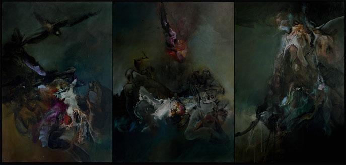 Le passage du Styx Acrylique sur toile Triptyque Dim:130cmx275cm
