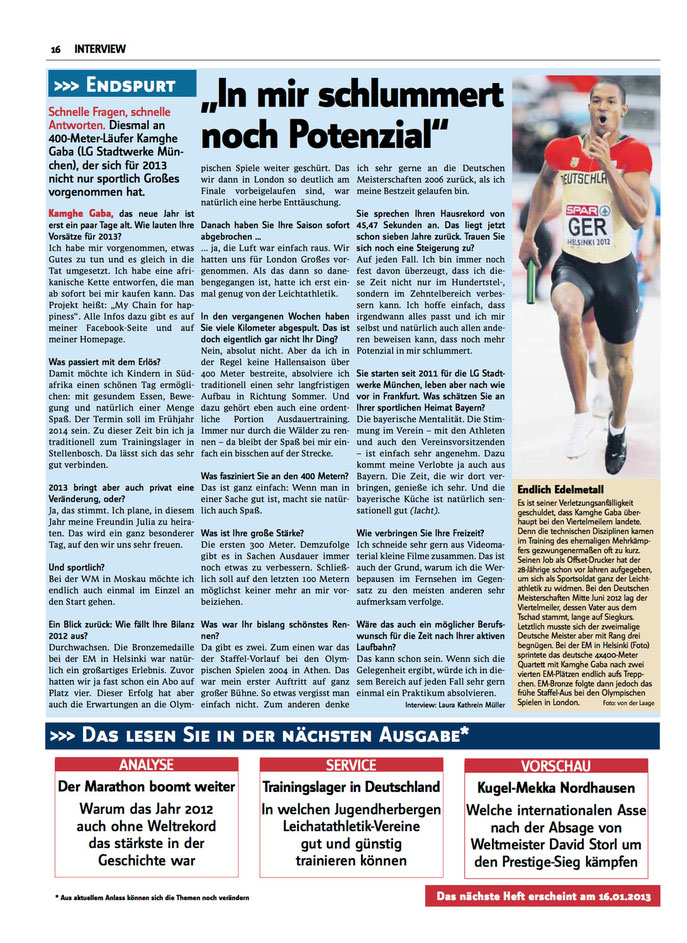 """Das Magazin """"Leichtathletik"""" im Interview mit Kamghe Gaba"""
