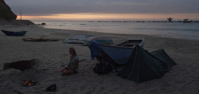 wild camping on the beach, Cabo Blanco, Peru