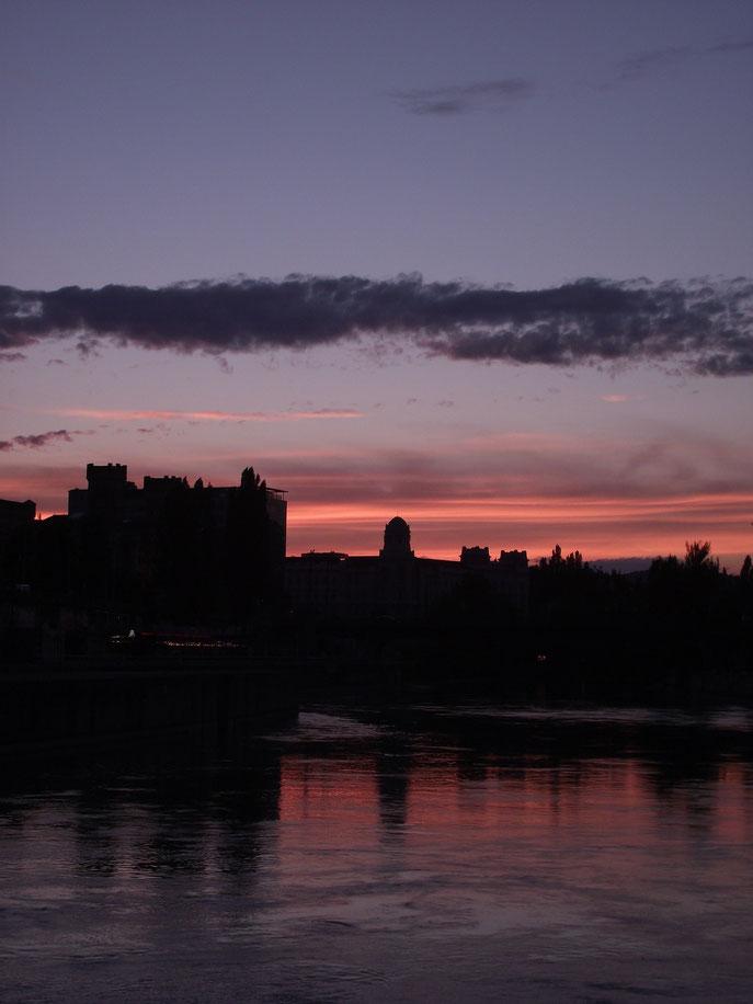 Sunset, Danube Canal, Vienna, Austria, Europe