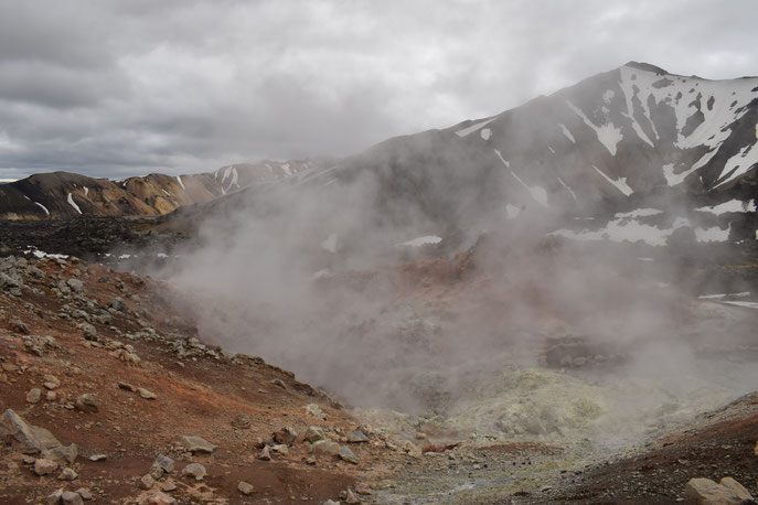 Geothermal activity, steam vents Landmannalaugar