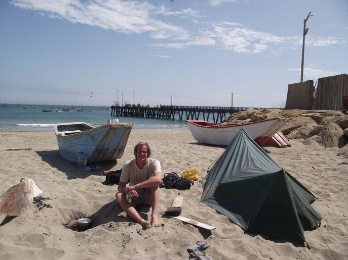 camping on Cabo Blanco, Peru
