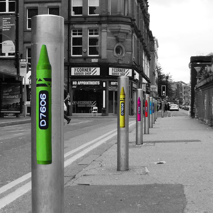 crayola colours Manchester's Northern Quarter, Out House project.