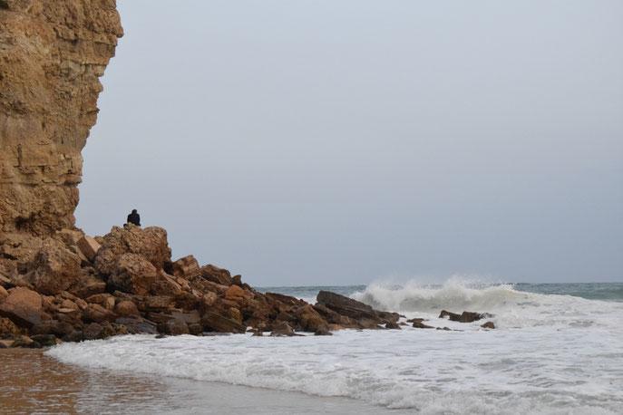 Praia da Burgau, campervan and van parking, Algarve, Portugal