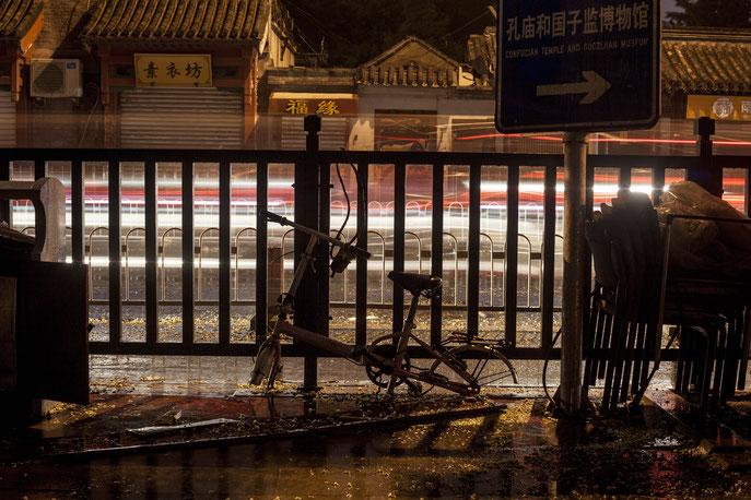 night street photography rain Beijing