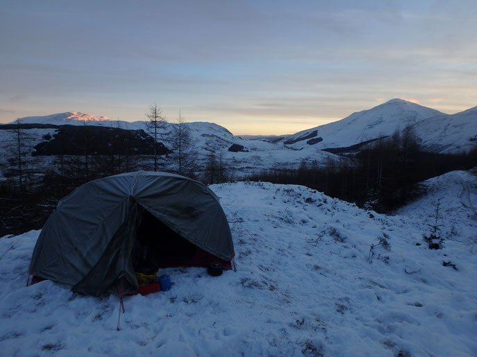 Sunrise, camping on the West Highland Way in December.