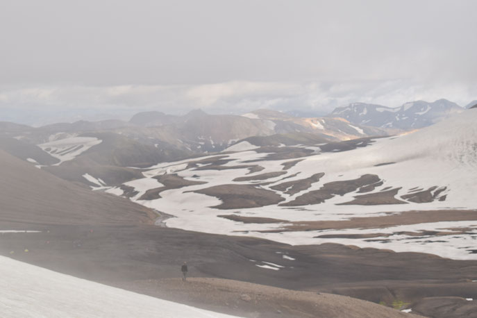 Hrafntinnusker in fog, Fjallabak