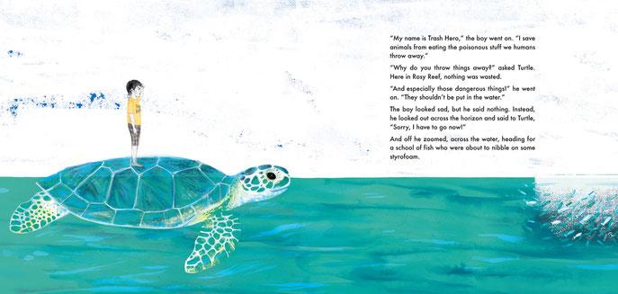 Ocean children's' book illustration, turtle, Ewelina Wajgert