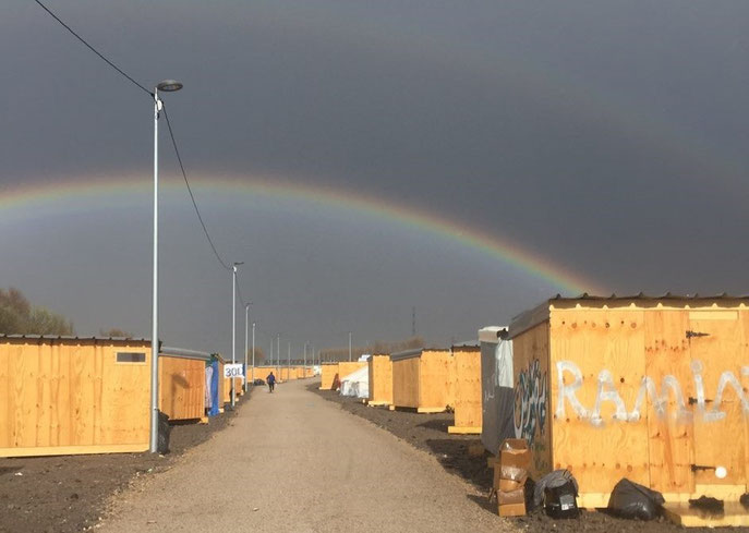 Double rainbow Dunkirk refugee camp, France