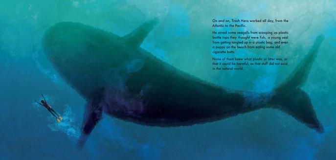 Whale shark children's' book illustration, Ewelina Wajgert