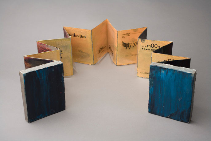 Night Walk II, 2013, unique accordion book, Arches 300lb paper/ink/ink/acrylics, wood cover/encaustics, 10cm wide (closed) 1.71m wide (open) x 12.5cm high. Text: Lucile Burt, Night Walk II. Private collection. © 2011 Marie Canaves