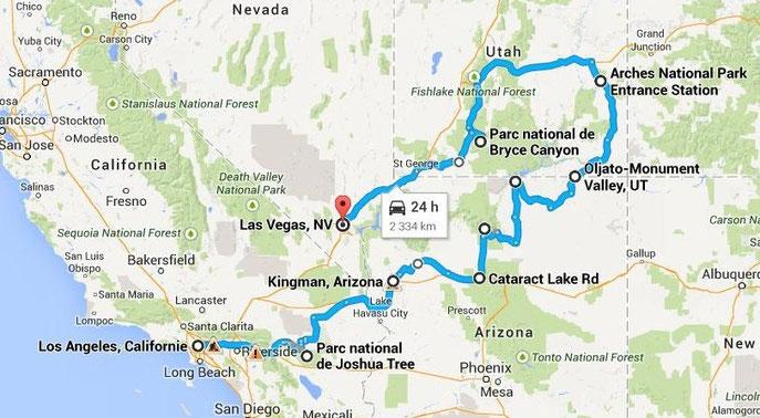 Début de notre voyage avec le RV (environ 3000 km)