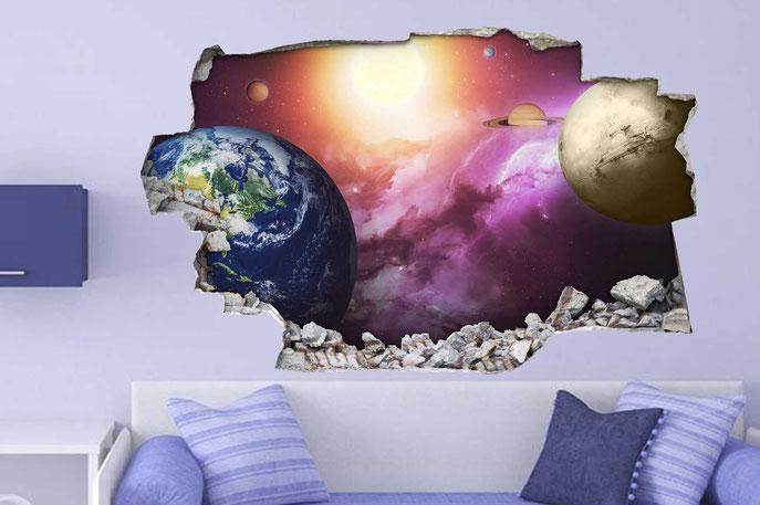 Vinilo decorativo de planetas en el espacio