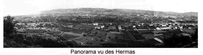 le panorama vu des Hemas.  Il a été réalisé en assemblant cinq photos noir et blanc. Le village est a droite.