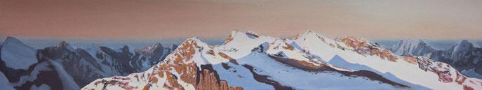 Karwendel-Hauptkamm, Öl auf Leinwand, 120 x 20cm, Maurice Küsel