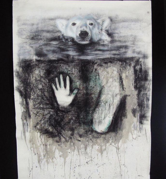 Pris au piège, nos animaux se perd dans nos repères. À l'horizon, l'eau s'étend sans fin.